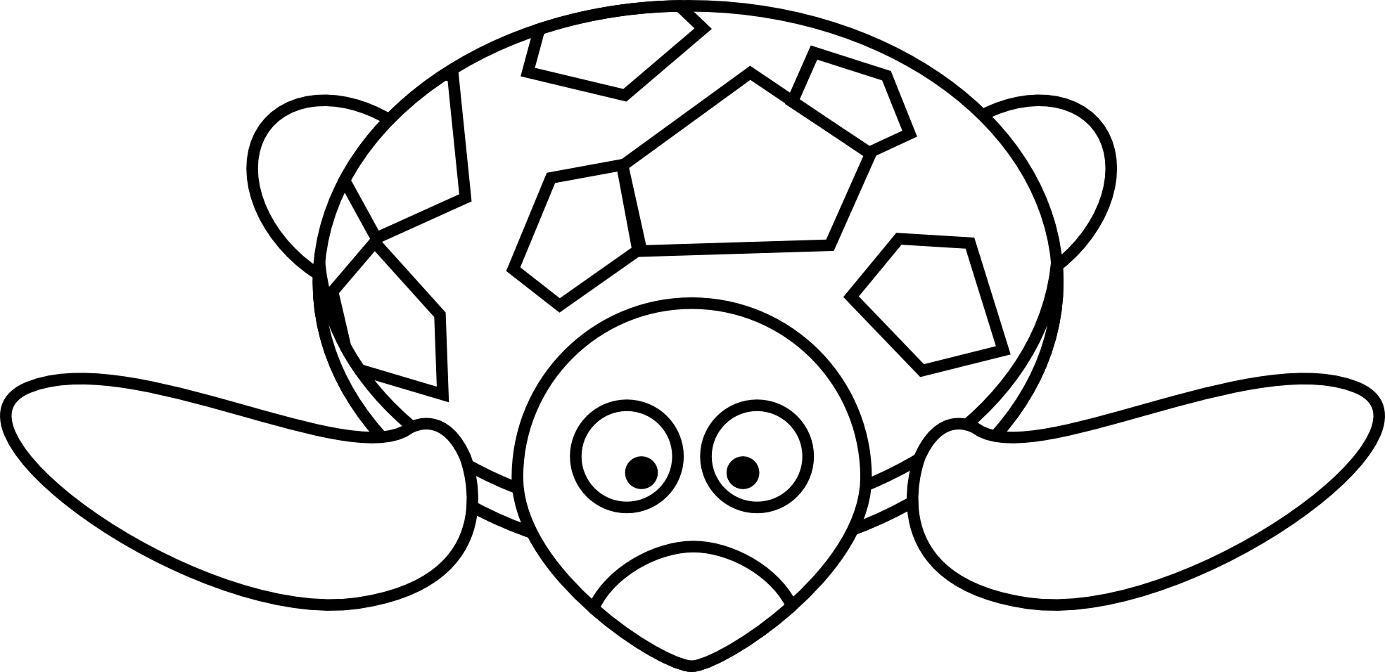 1969x956 Cartoon Turtle Black White Clipart Panda