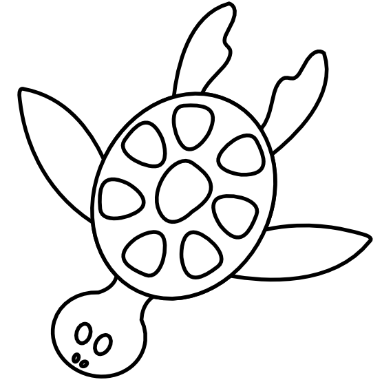555x555 Clip Art Colorful Animal Sea Turtle Black White