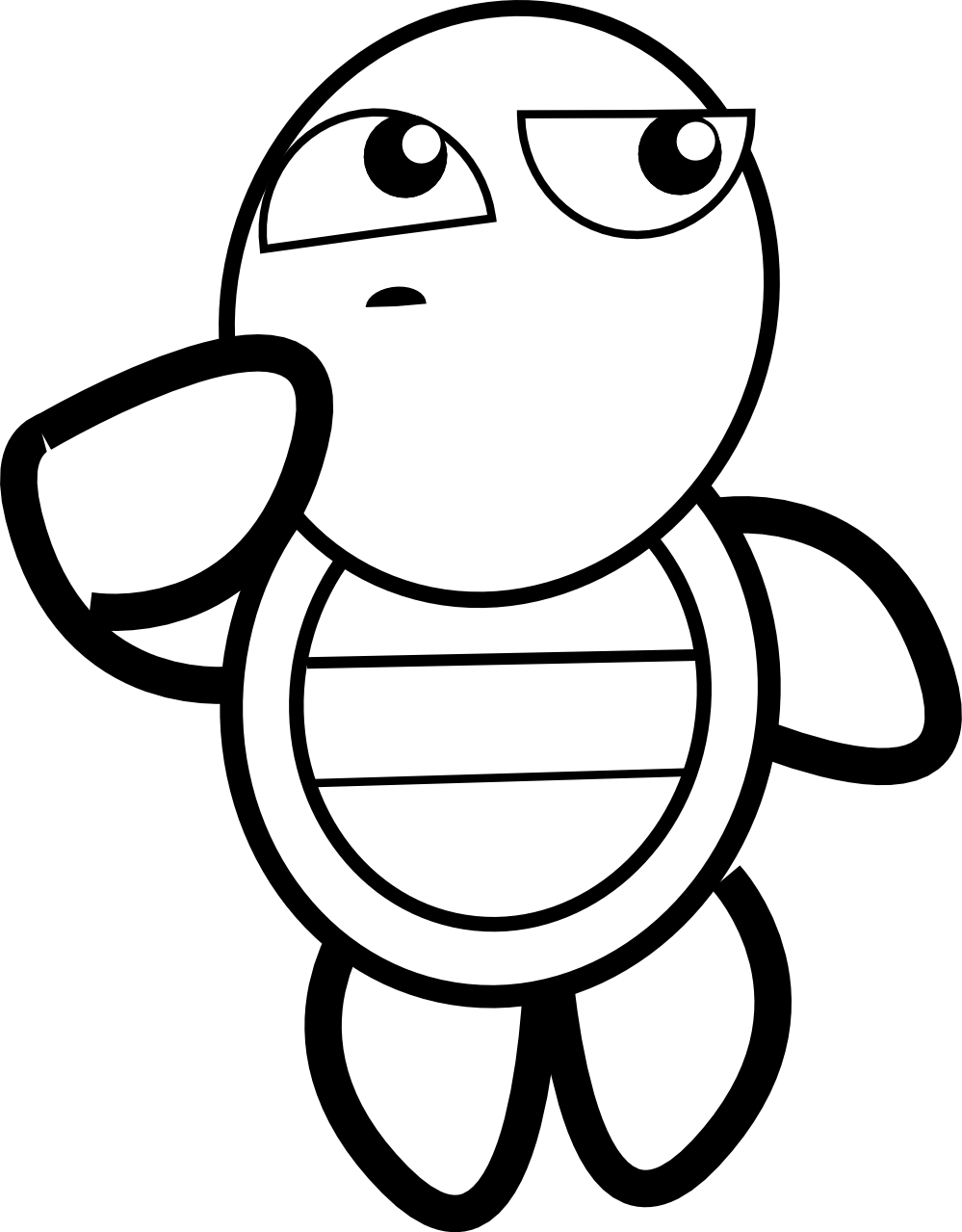 999x1279 Clip Art Feraliminal Turtle Thinking Black
