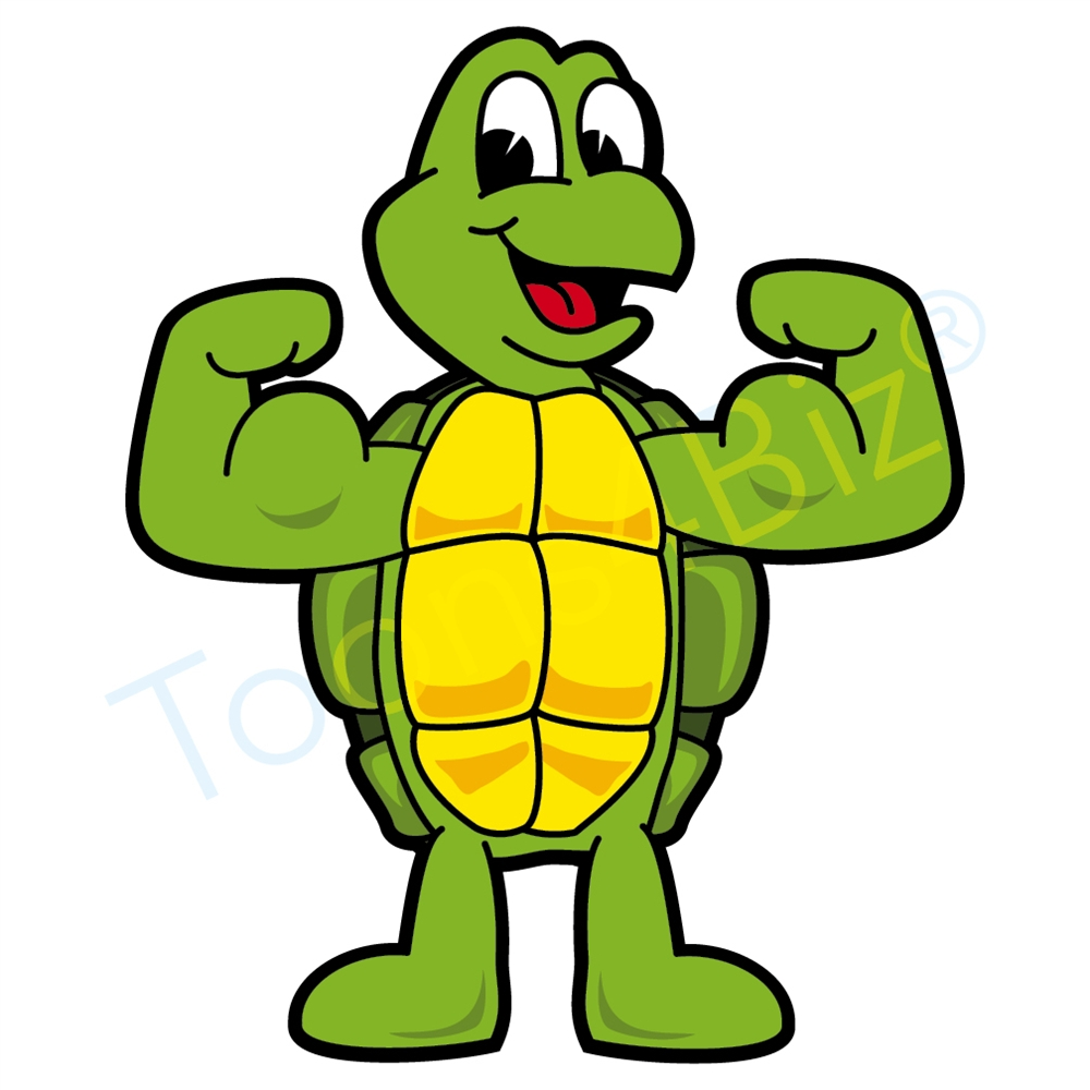 1000x1000 Turtle Mascot Flexing Muscles Clip Art