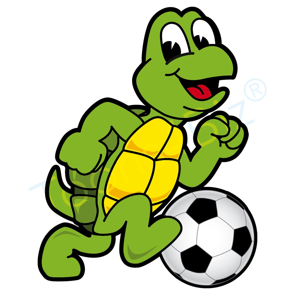 1000x1000 Turtle Mascot Playing Soccer Clip Art