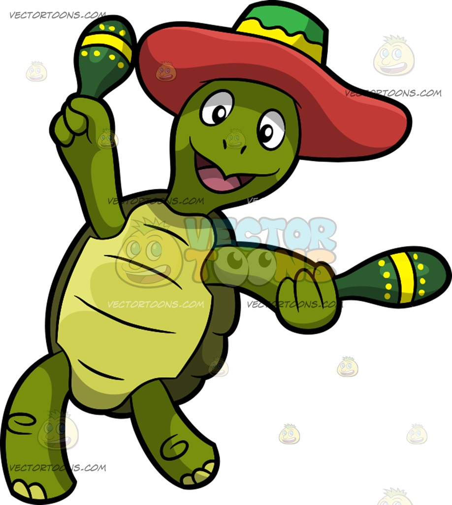 918x1024 A Dancing Mexican Turtle Cartoon Clipart