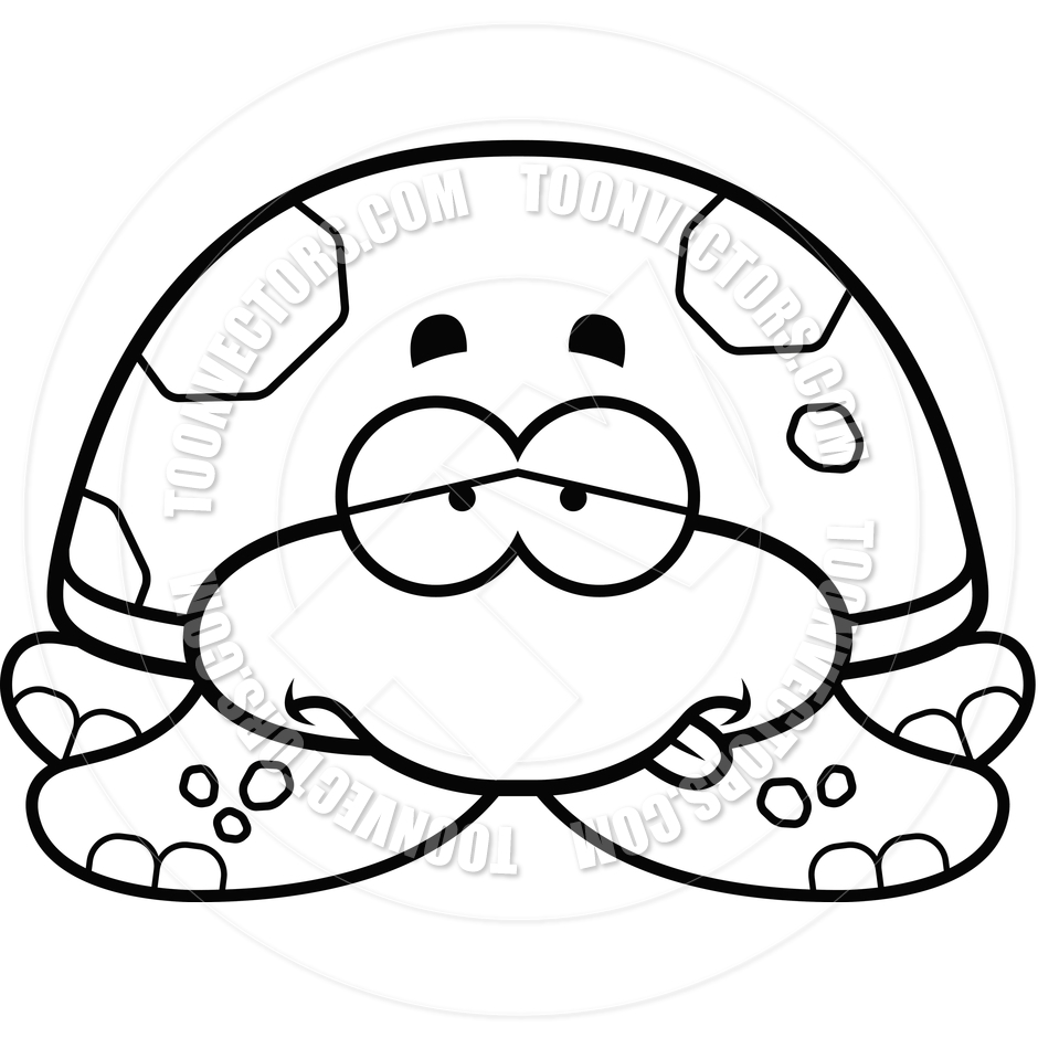940x940 Cartoon Little Sea Turtle Sick (Black And White Line Art) By Cory