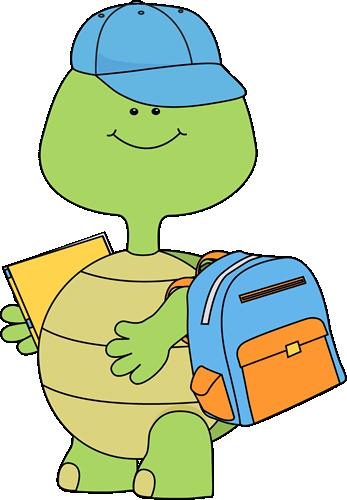 347x500 Boy Turtle Going To School Clip Art