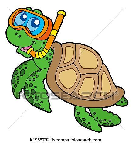 435x470 Clip Art Of Sea Turtle Snorkel Diver K1955792