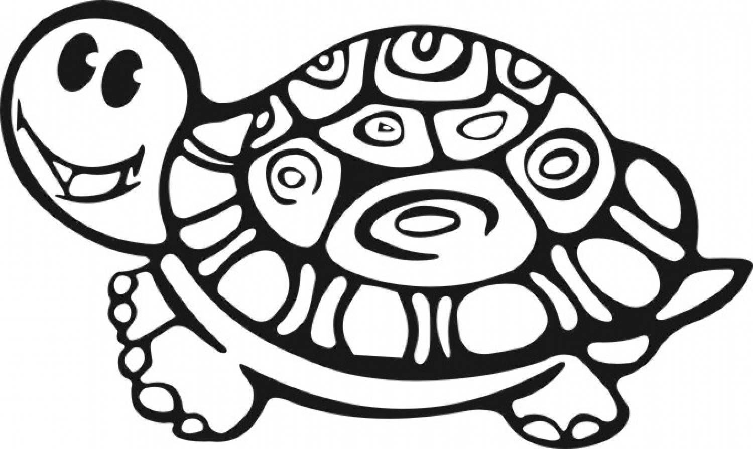 1500x895 Turtle Coloring Pages Smiling