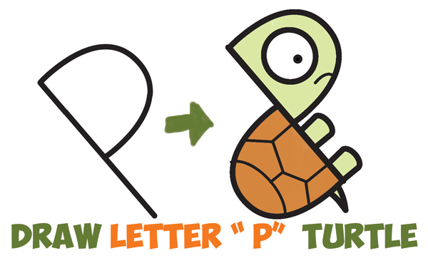 600x383 How To Draw A Cute Cartoon Turtle From Letter P Shapes Easy Step