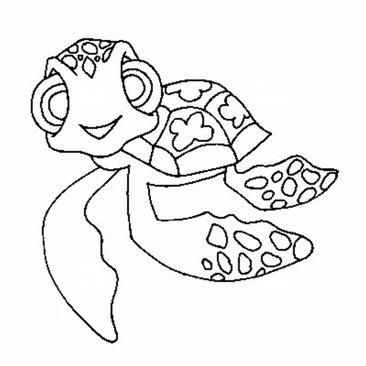 1200x1200 Drawn Turtle Coloring Page