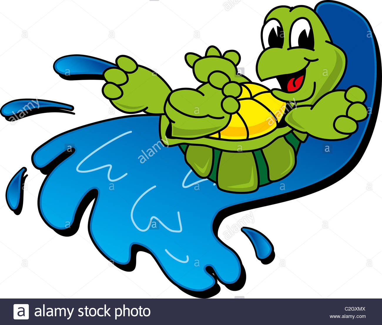 1300x1104 Cartoon Turtle Riding A Wave Stock Photo, Royalty Free Image