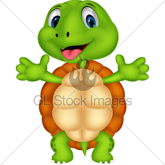 325x325 Funny Turtle Cartoon Waving Gl Stock Images