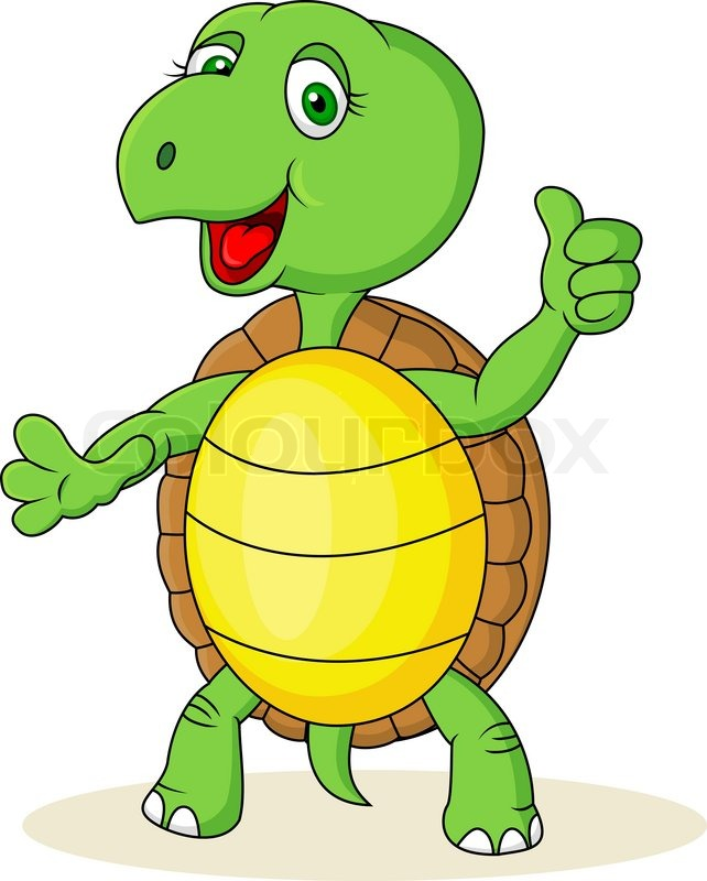 642x800 Turtle Cartoon With Thumb Up Stock Vector Colourbox