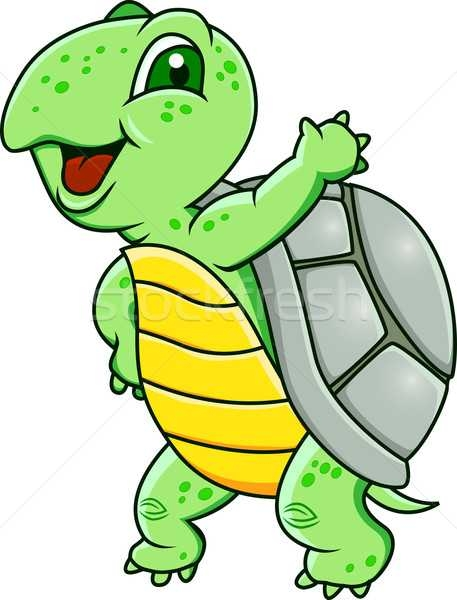 457x600 Turtle Cartoon Hand Waving Vector Illustration Surya Zaidan
