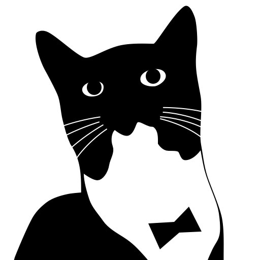 512x512 Black Cat clipart tuxedo cat