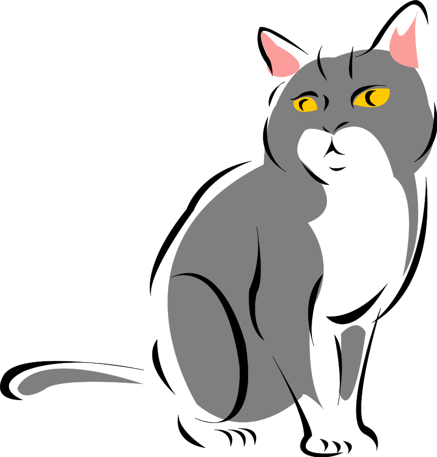 861x900 Gray clipart cat sitting
