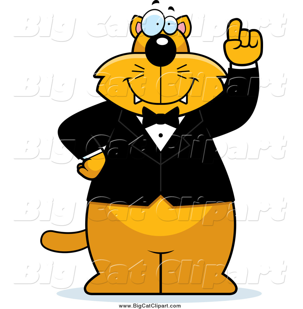 1024x1044 Big Cat Cartoon Vector Clipart of a Smart Ginger Cat Wearing a