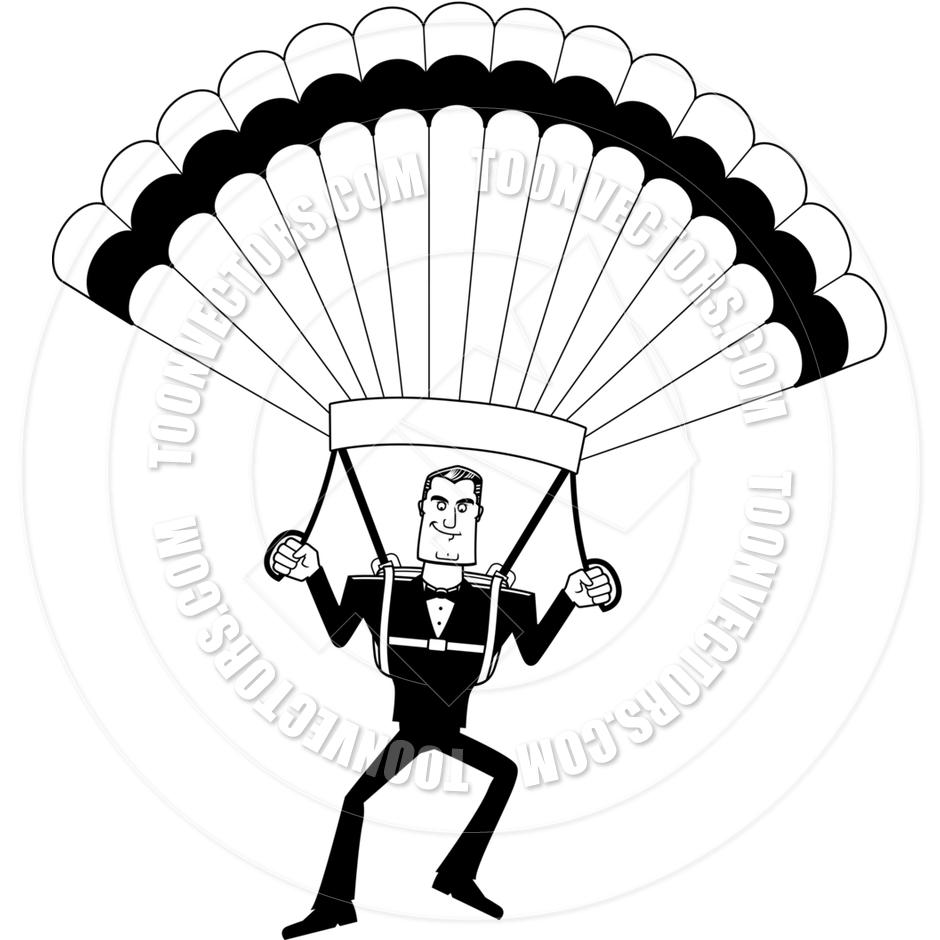 940x940 Cartoon Spy In Tuxedo Parachuting (Black And White Line Art) By