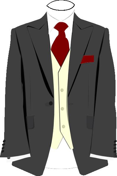 396x595 Grey Suit Burgundy Tie Clip Art
