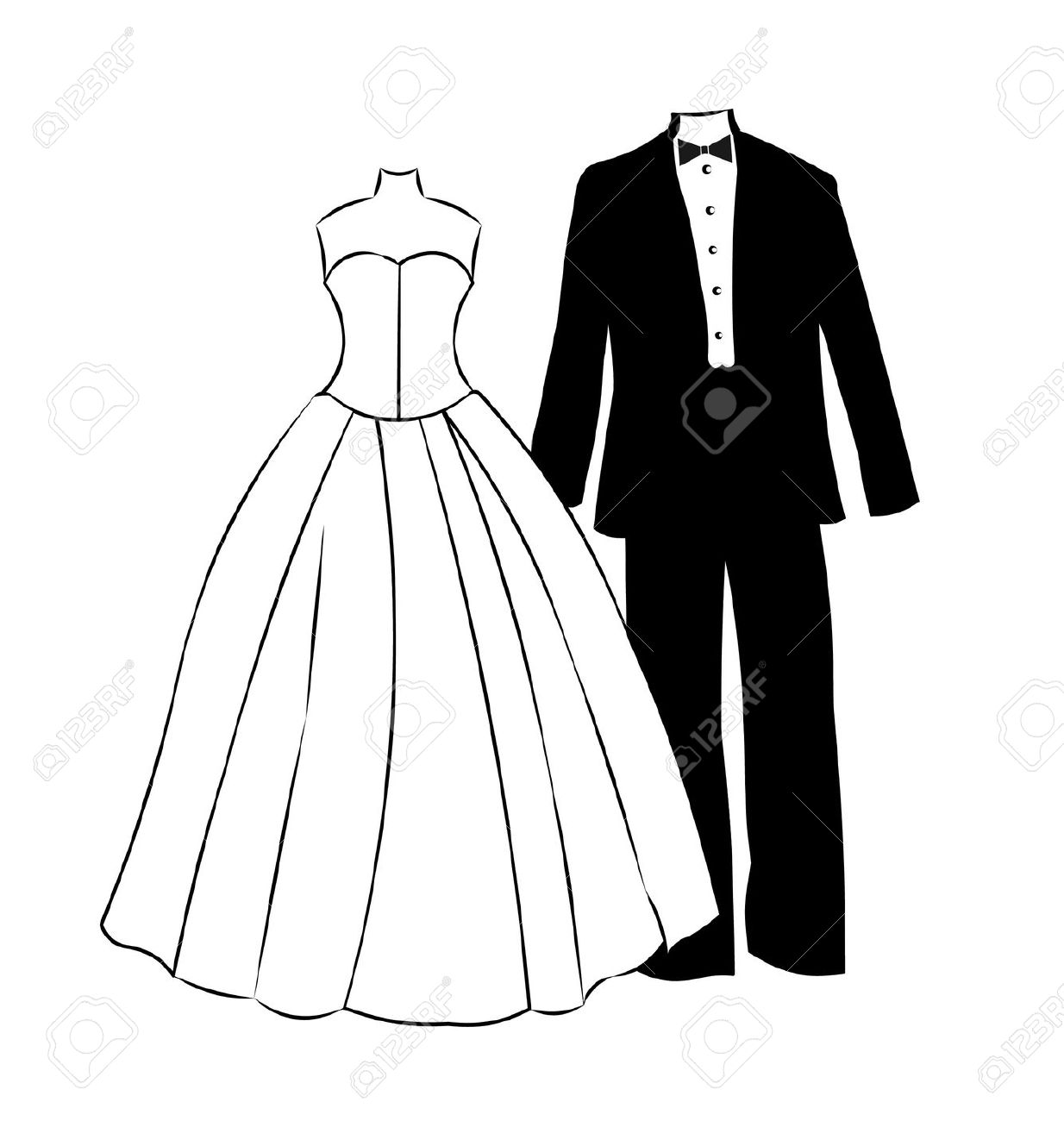 Wedding Gown Clip Art: Free Download Best Tuxedo Clipart On