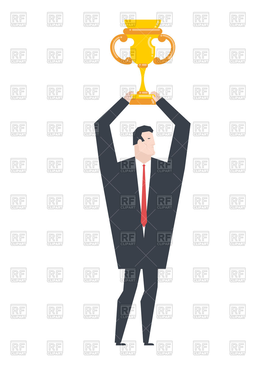 861x1200 Business Winner. Businessman Holds Gold Cup. Royalty Free Vector