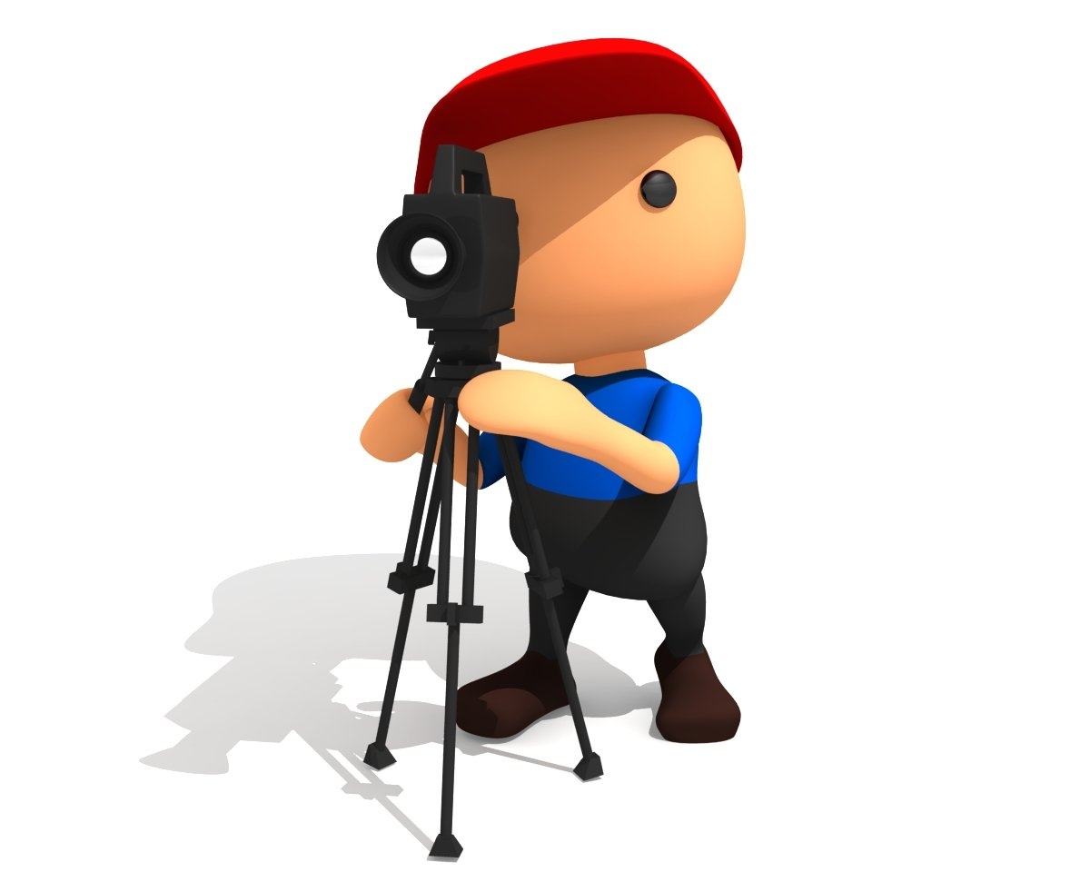 1200x960 Cameraman With Tv Camera 3d Model In Cartoon 3dexport