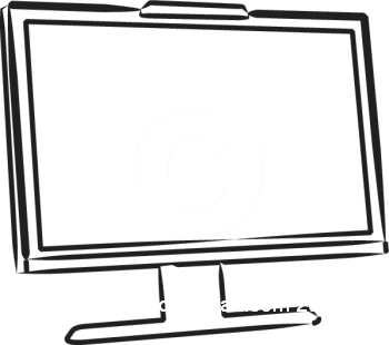 350x310 Computer Black And White Clipart