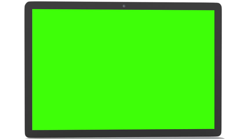 852x480 Isolated Laptop With Green Screen On White Background. Camera