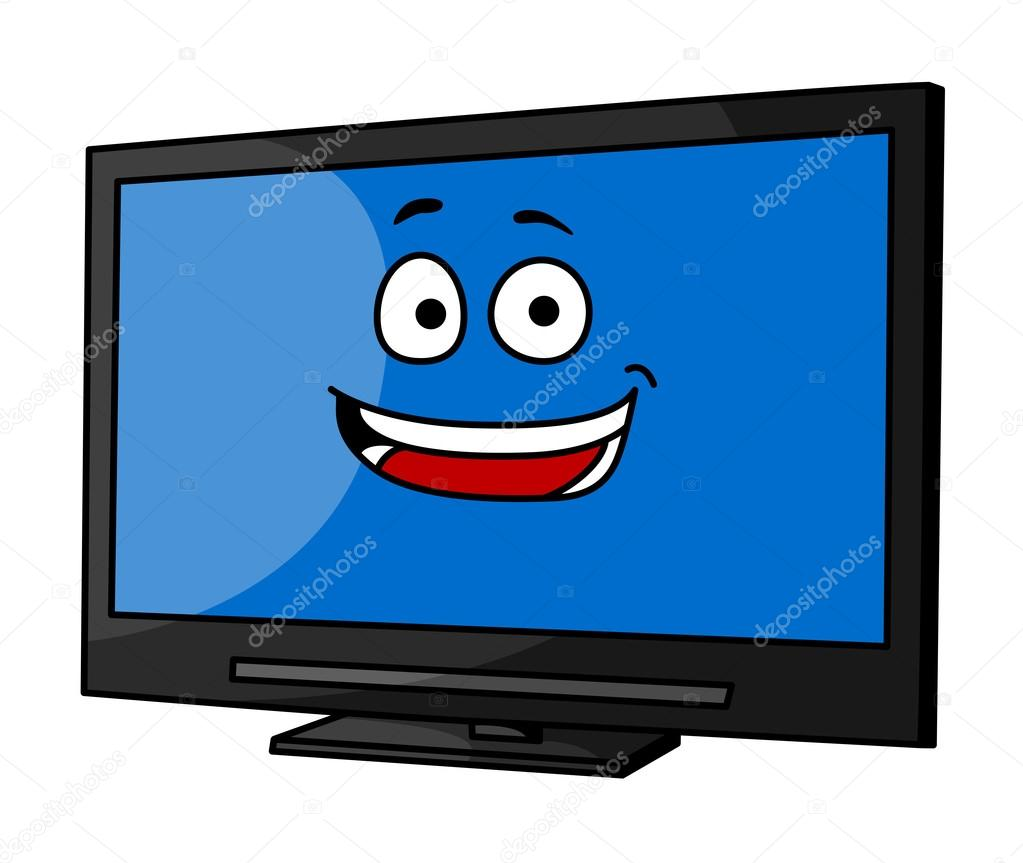 1023x863 Cheeky Smiling Cartoon Tv Or Monitor Stock Vector Seamartini