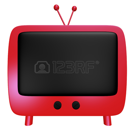 450x450 Front View Of A Red Cartoon Tv With A Blank Black Screen Stock