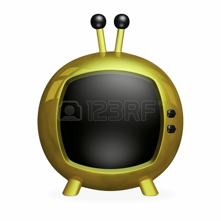 450x450 Cartoon 3d Retro Style Tv, Made Of Gold, With A Blank Black Screen