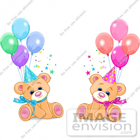 450x450 Clip Art Of Male And Female Twin Birthday Bears Wearing Party Hats