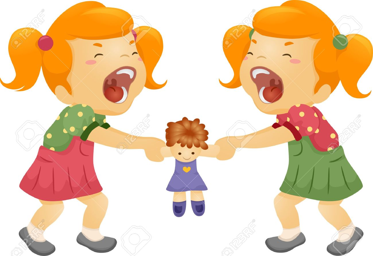 1300x894 Illustration Of Twin Sisters Fighting Over A Doll Stock Photo