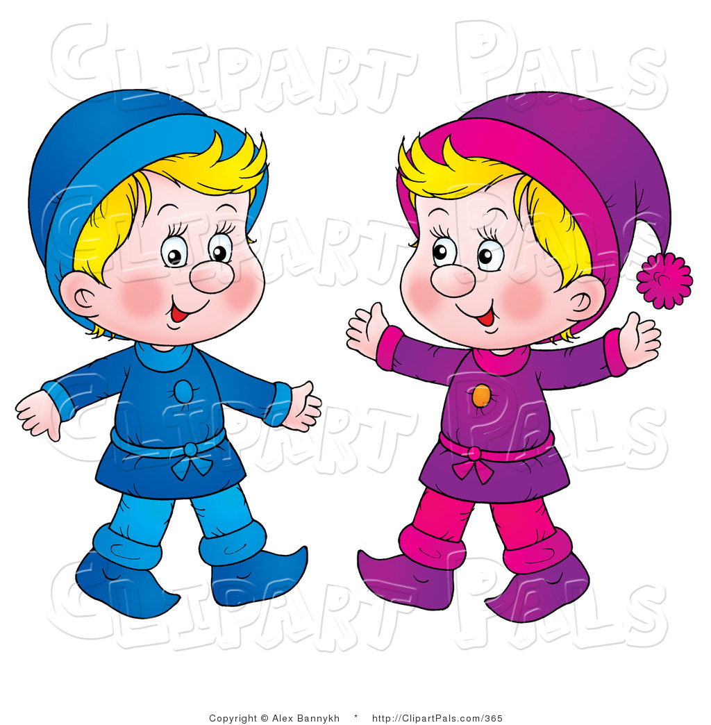 1024x1044 Pal Clipart Of Two Twin Blond Boys Dressed In Blue And Purple By