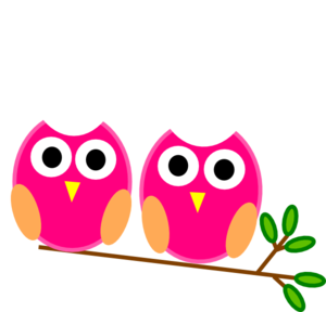 300x288 Pink Owls On Branch Clip Art