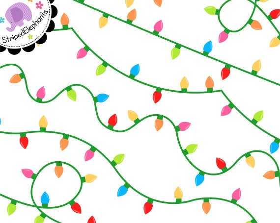 570x455 Fairy Lights Clip Art, Digital Party Lights, Christmas Twinkle