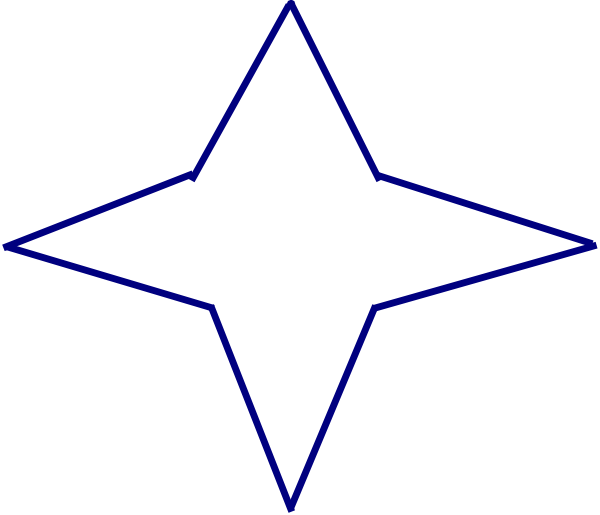 600x515 Blue Four Point Star Clip Art