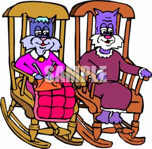 300x295 Cats Sitting In Rocking Chairs Knitting
