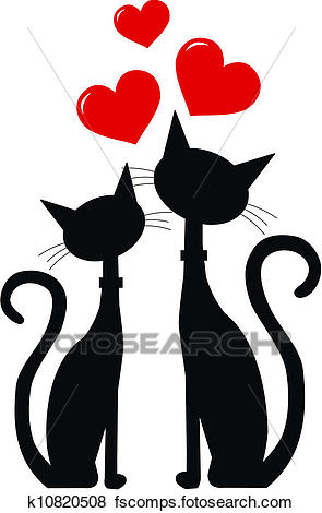 295x470 Clip Art of two black cats in love k10820508