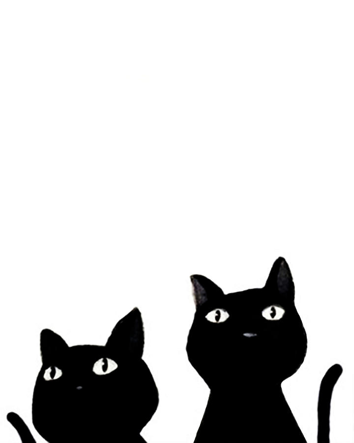720x900 Two Black Cats Poster Painting by Del Art