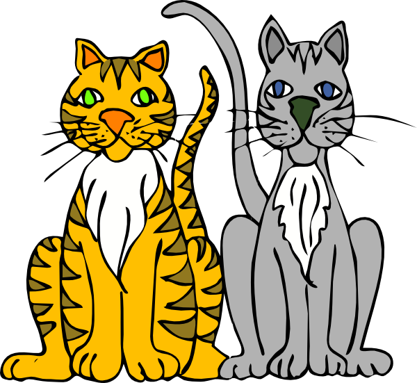 600x551 Two Cartoon Cats Clip Art