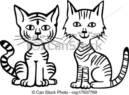 450x331 Two Cats BW Clip Art – Cliparts