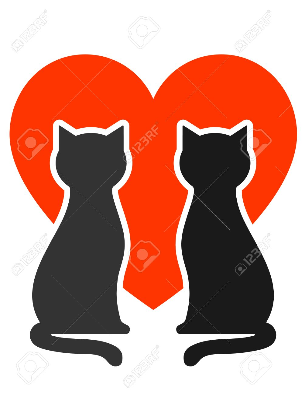1004x1300 Two Cats Silhouettes With Big Red Heart Royalty Free Cliparts