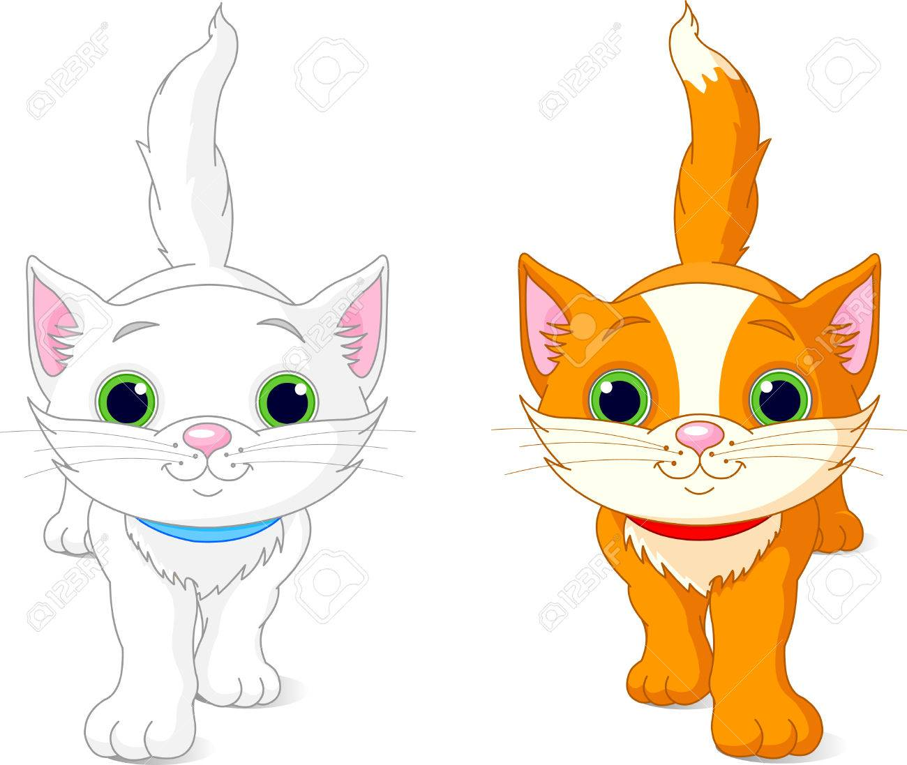 1300x1097 Two Cute Kittens, White And Red, Walking Royalty Free Cliparts