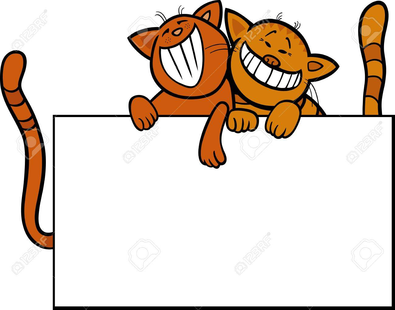 1300x1022 Cartoon Illustration Of Two Funny Cats With Blank Card Or Board