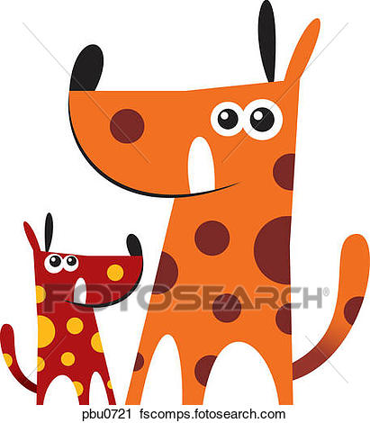 411x470 Clipart Of Two Spotted Dogs Of Different Sizes Pbu0721