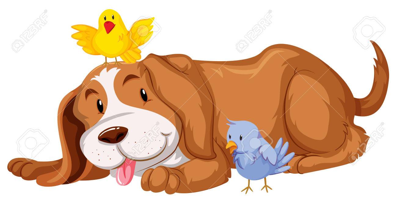 1300x667 Pet Dog With Two Birds Illustration Royalty Free Cliparts, Vectors