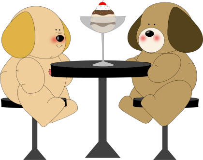 420x331 Table Clipart Two Dog