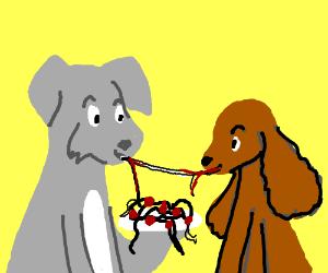 300x250 Dogs Share Spaghetti