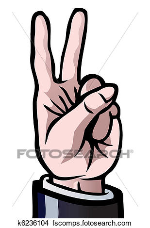 309x470 Clipart Of Two Fingers Up K6236104