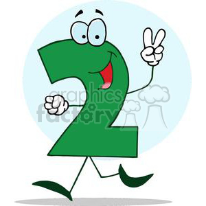 300x300 Royalty Free Cartoon Happy Numbers 2 In Green Holding Two Finger