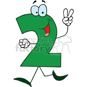 300x300 Royalty Free Cartoon Number 2 Green Holding Up Two Fingers 378043